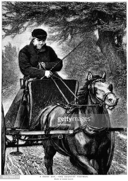 land-postbote fahren von seinem pferd und falle an einem regnerischen tag - pferdeantrieb stock-grafiken, -clipart, -cartoons und -symbole