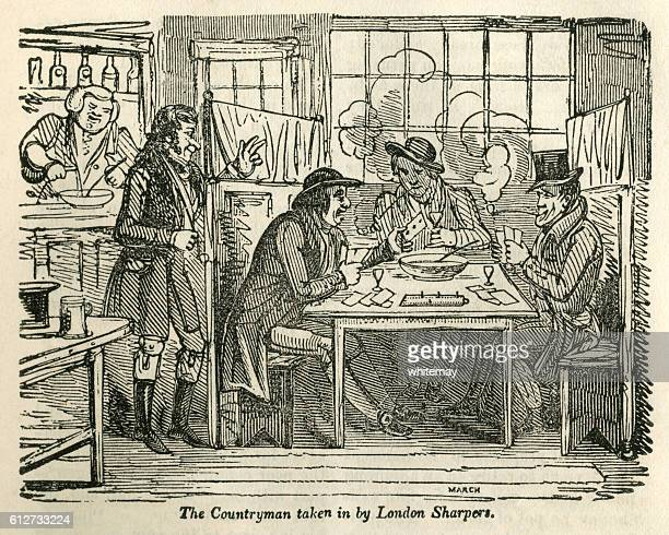 countryman taken in by london card sharpers - history stock illustrations, clip art, cartoons, & icons