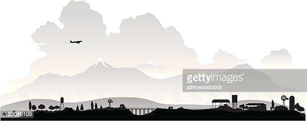 countryside silhouette - prairie stock illustrations, clip art, cartoons, & icons