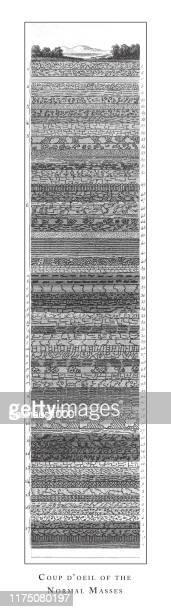 通常の大衆のクーデター、退屈な機器;階層化とアルテシアンウェルズ彫刻アンティークイラスト、1851年発行 - ロックストラータ点のイラスト素材/クリップアート素材/マンガ素材/アイコン素材