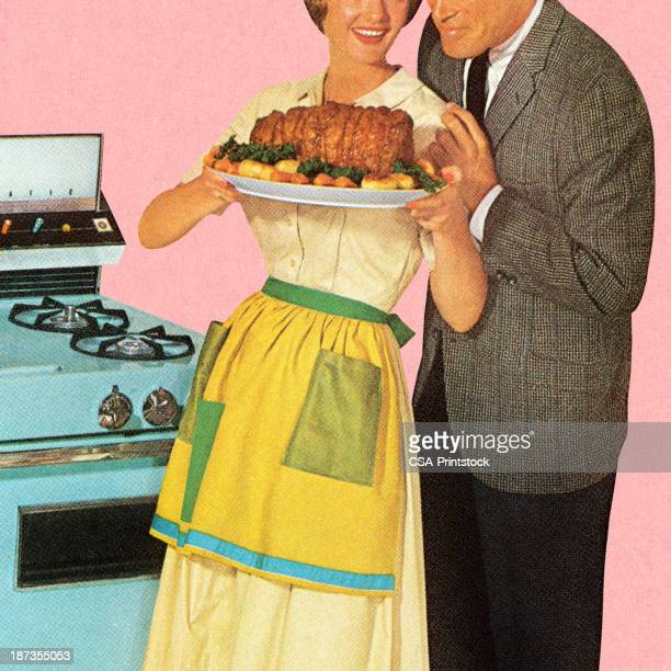couple admiring roast - wife stock illustrations