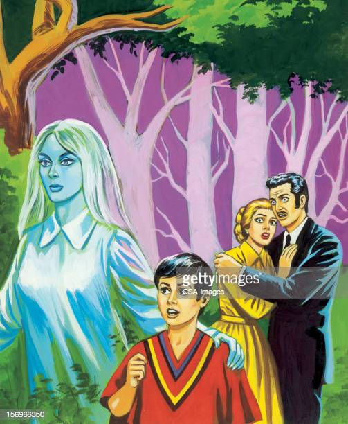 couple and boy with ghost - kids hugging mom cartoon stock illustrations