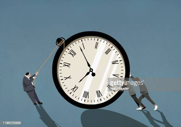 couple and businessman pushing and pulling large stopwatch - deadline stock illustrations