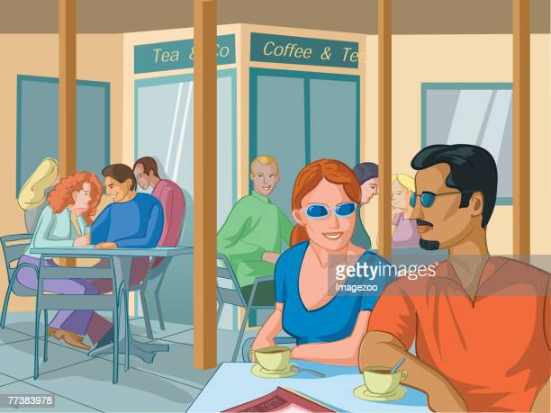 couple at a cafe - lunch break stock illustrations, clip art, cartoons, & icons