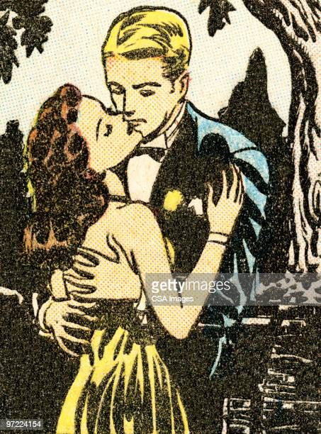 couple at a formal dance - embracing stock illustrations