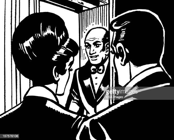 couple at door of bald man - updo stock illustrations, clip art, cartoons, & icons