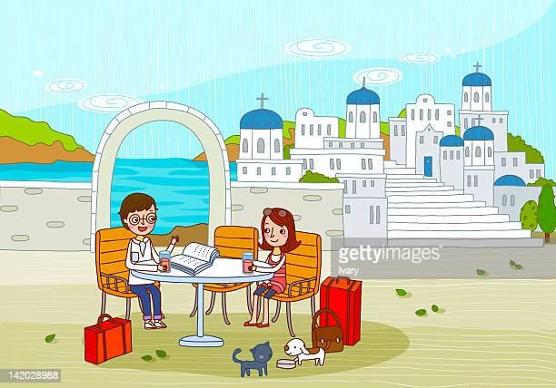 couple at santorini, mediterranean sea, cyclades island, greek islands, greece, europe - santorini stock illustrations
