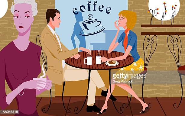 ilustraciones, imágenes clip art, dibujos animados e iconos de stock de couple at table in coffee shop, mature woman in foreground - mujeres de mediana edad