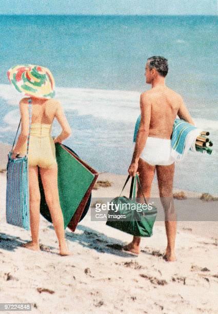 ilustraciones, imágenes clip art, dibujos animados e iconos de stock de couple at the beach - cortar