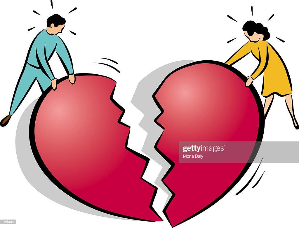 Couple Breaking a Heart : Ilustração de stock