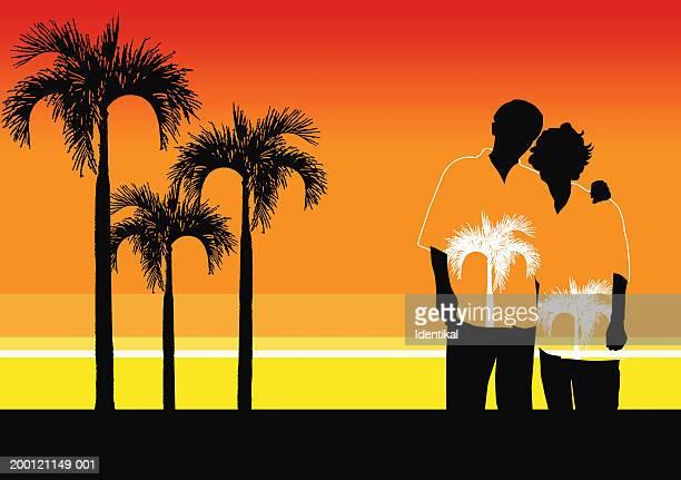 couple by palm trees - hawaiian shirt stock illustrations