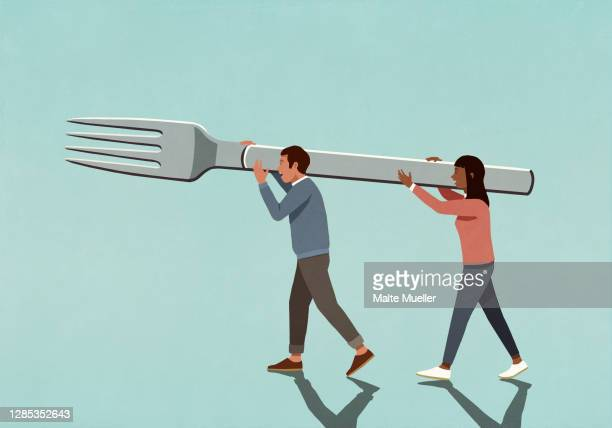 couple carrying large fork - scale stock illustrations