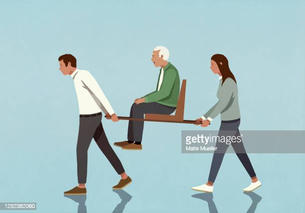 couple carrying senior man on sedan chair - the ageing process stock illustrations