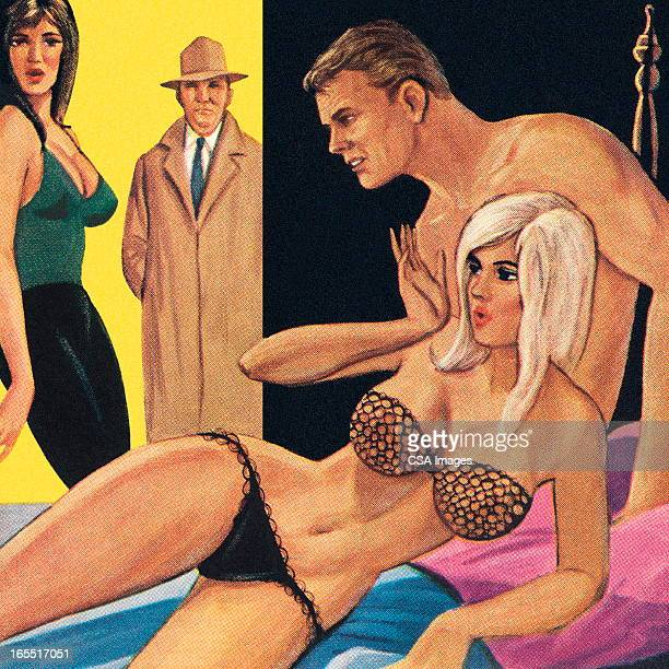 couple caught in the bedroom - sex and reproduction stock illustrations, clip art, cartoons, & icons