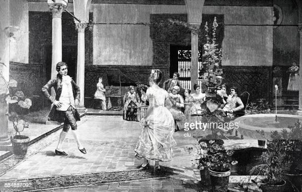 ein paar tanzen ein menuett im großen festsaal - ballsaal stock-grafiken, -clipart, -cartoons und -symbole