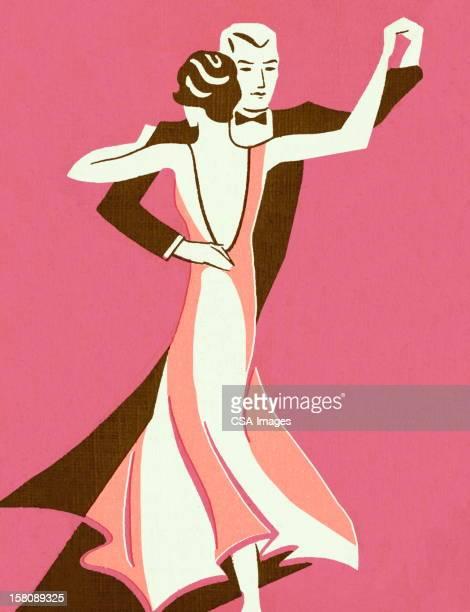 ilustraciones, imágenes clip art, dibujos animados e iconos de stock de pareja de baile - pareja bailando cuerpo entero