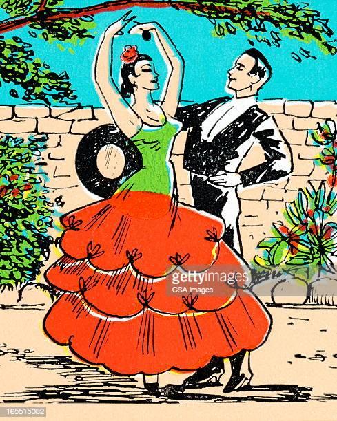 couple dancing - spanish dancer stock illustrations, clip art, cartoons, & icons