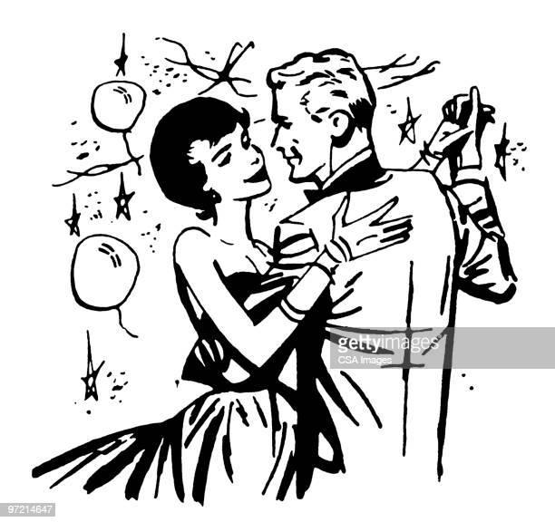 couple dancing - ballroom stock illustrations