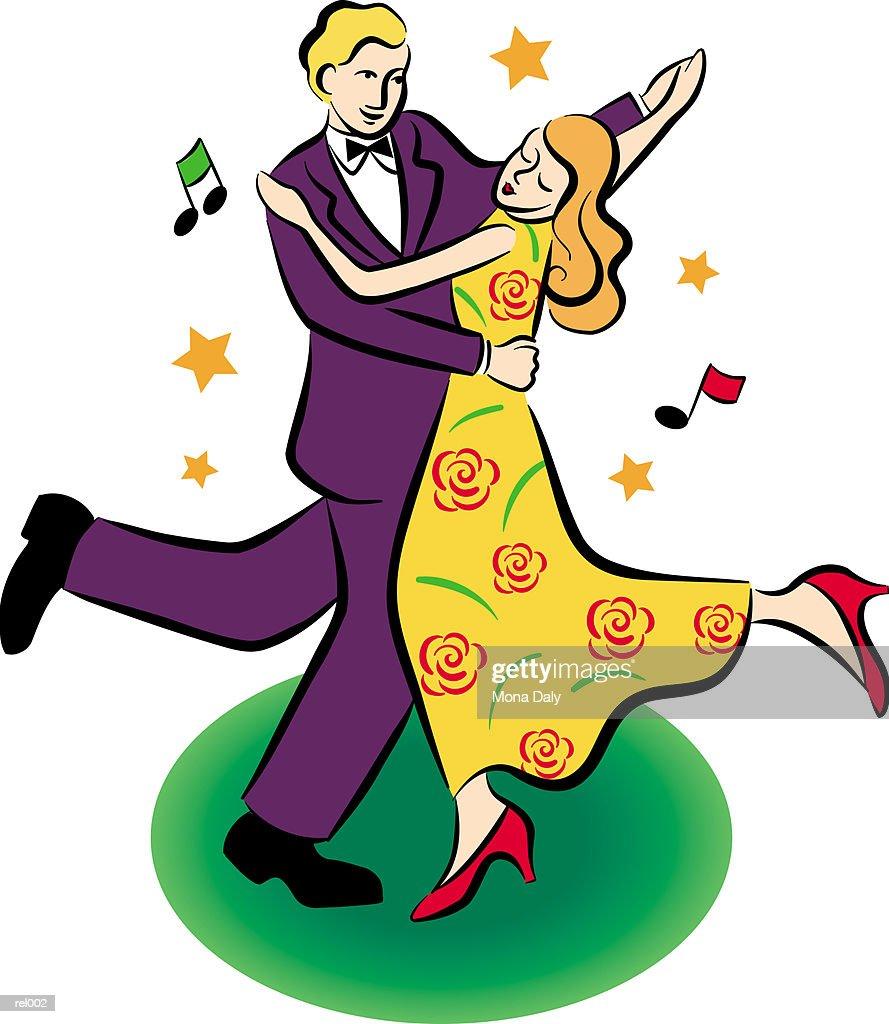 Couple Dancing : Stockillustraties