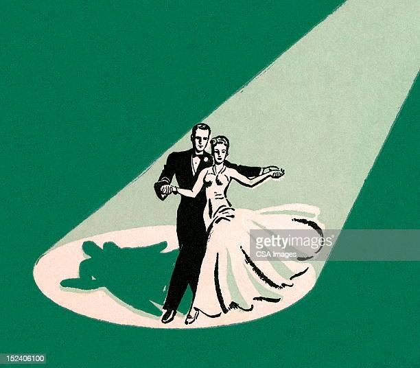 ilustraciones, imágenes clip art, dibujos animados e iconos de stock de pareja de baile en luz - pareja bailando cuerpo entero