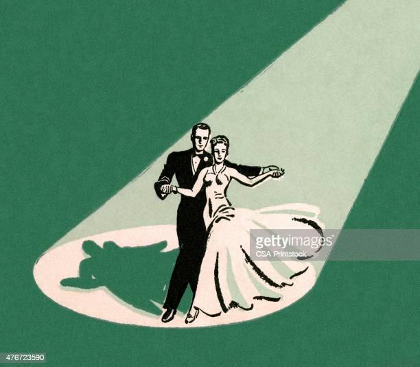 couple dancing in spotlight - ballroom stock illustrations
