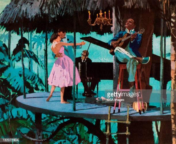 ilustraciones, imágenes clip art, dibujos animados e iconos de stock de pareja bailando en medio de la selva - pareja bailando cuerpo entero