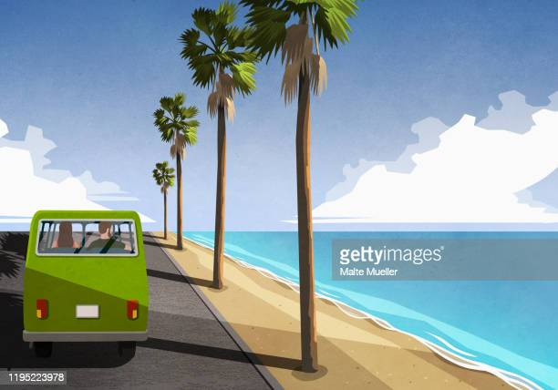 couple driving along idyllic tropical beach in retro van - journey stock illustrations