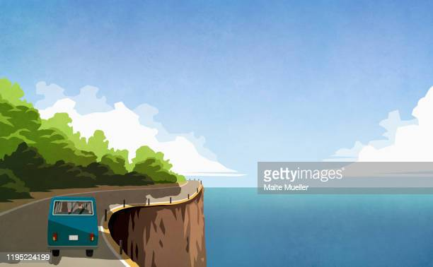couple driving retro van along ocean cliff - journey stock illustrations