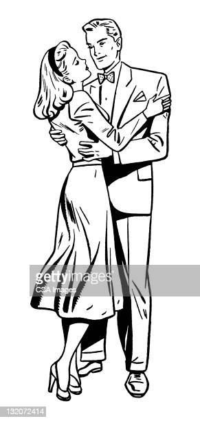 ilustraciones, imágenes clip art, dibujos animados e iconos de stock de par abrazar - pareja bailando cuerpo entero