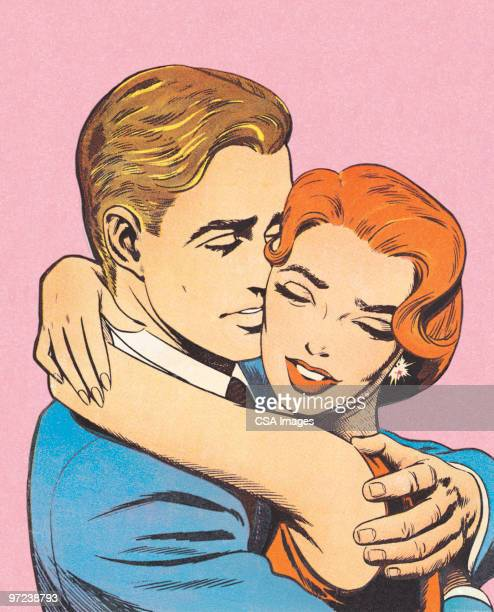 couple embracing - embracing stock illustrations