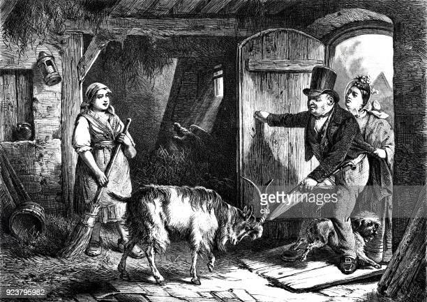 A couple enters a goat pen