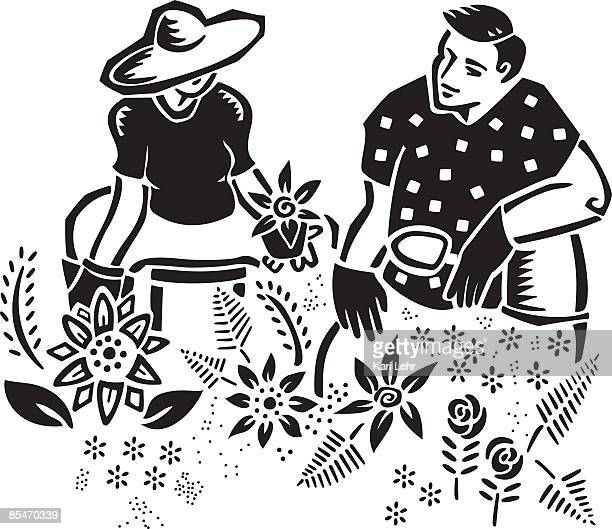 a couple gardening together - gardening glove stock illustrations, clip art, cartoons, & icons