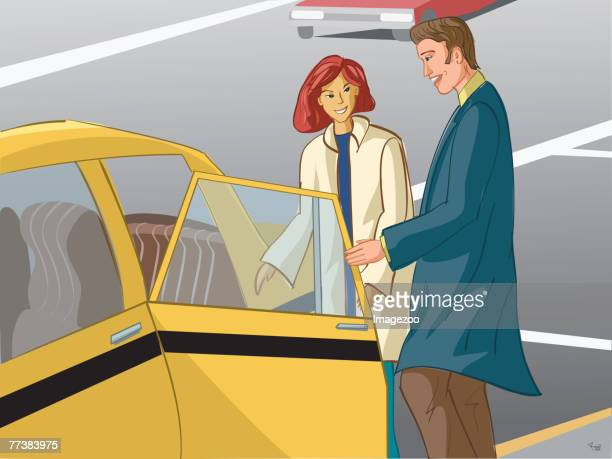 couple getting into a taxi cab