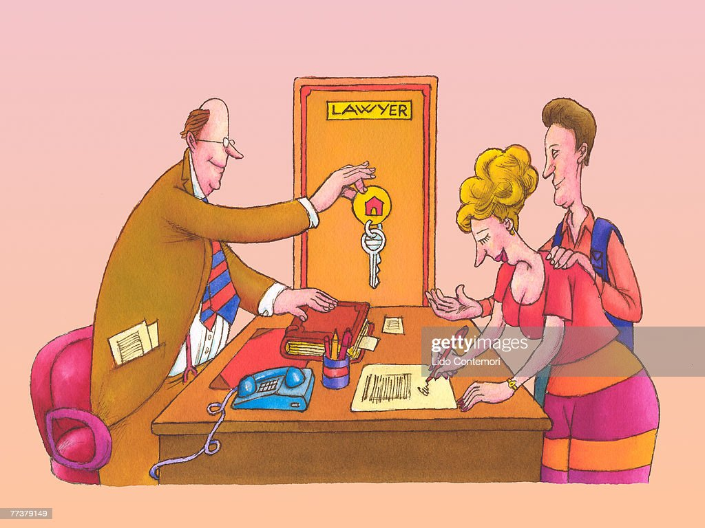 A couple getting the keys to their new home : Illustration