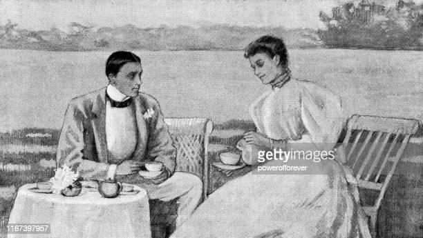 couple having tea on the shore of chesapeake bay in virginia beach, virginia, united states - 19th century - chesapeake bay stock illustrations, clip art, cartoons, & icons