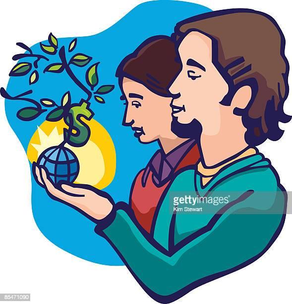 ilustraciones, imágenes clip art, dibujos animados e iconos de stock de a couple holding a small plant growing out of a globe with a money sign - mujeres de mediana edad