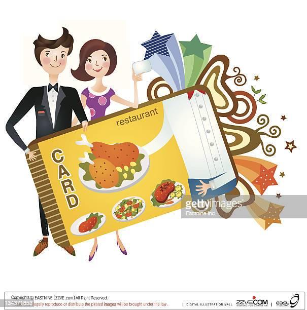 ilustraciones, imágenes clip art, dibujos animados e iconos de stock de couple holding restaurant card - mujeres de mediana edad