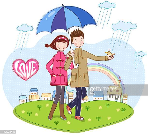 couple holding umbrella in rainy day - monsoon stock illustrations, clip art, cartoons, & icons