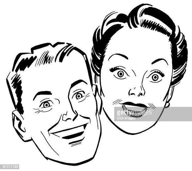 couple - alertness stock illustrations