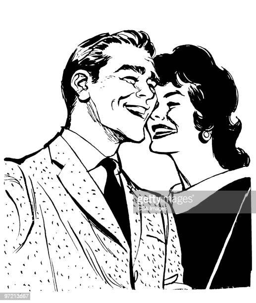 couple - black and white stock illustrations