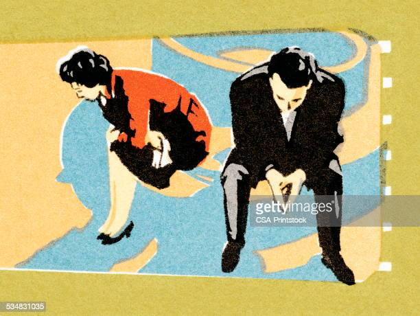 couple in a disagreement - disappointment stock illustrations