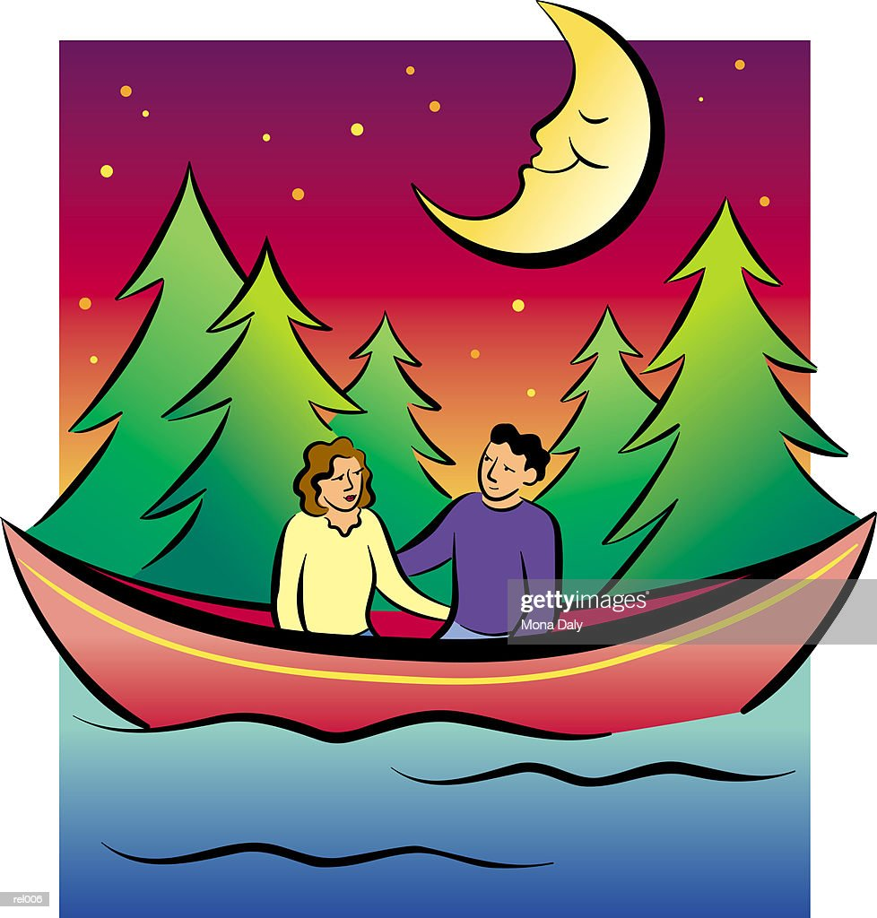 Couple in Canoe at Night : Ilustração de stock