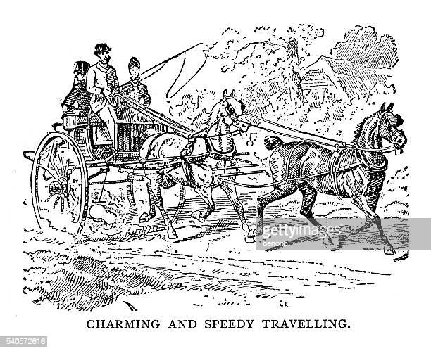 couple in carriage - horsedrawn stock illustrations, clip art, cartoons, & icons