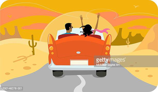 couple in convertible driving into the sunset - domestic car stock illustrations, clip art, cartoons, & icons