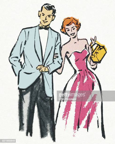 couple in formal attire - arm in arm stock illustrations, clip art, cartoons, & icons
