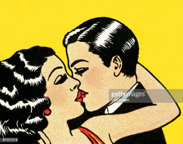 couple in formal wear kissing - embracing stock illustrations