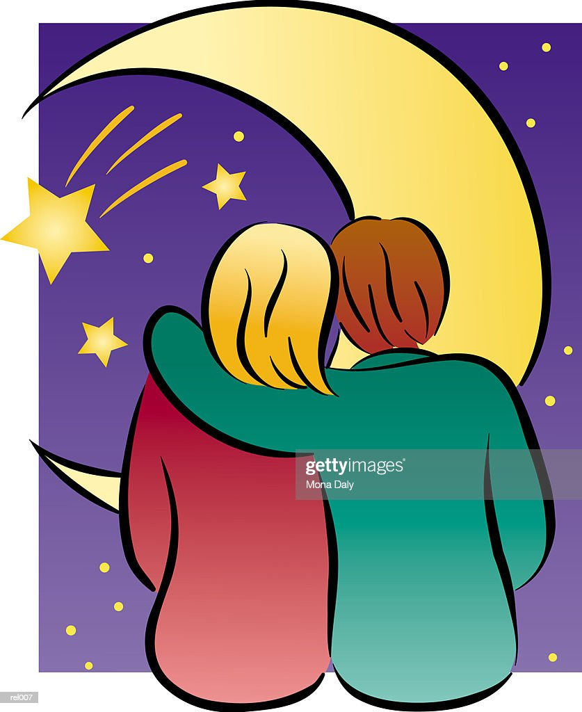 Couple in Front of Moon : Ilustração de stock