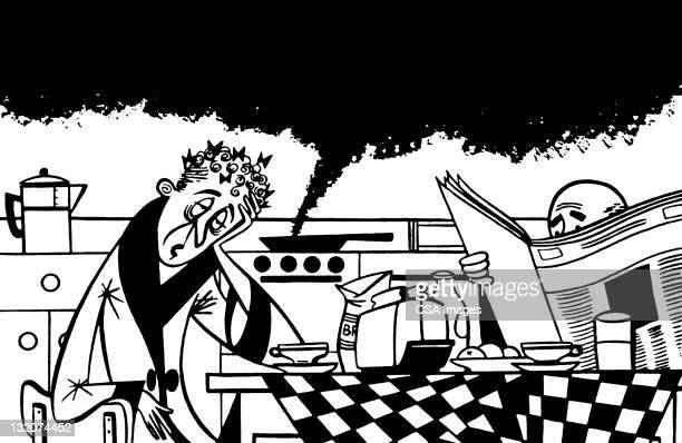 couple in kitchen and food burning - burning stock illustrations, clip art, cartoons, & icons
