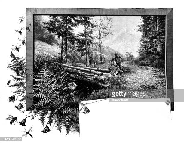couple in love in a forest in a frame - 1887 stock illustrations, clip art, cartoons, & icons
