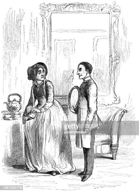 couple in morning dress - victorian style fashion (1859) - en búsqueda stock illustrations